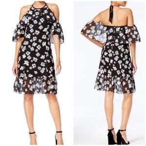 Kensie Floral Cold Shoulder Dress Black Size Large